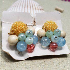 Vintage Western Germany Clip On Earrings Colorful